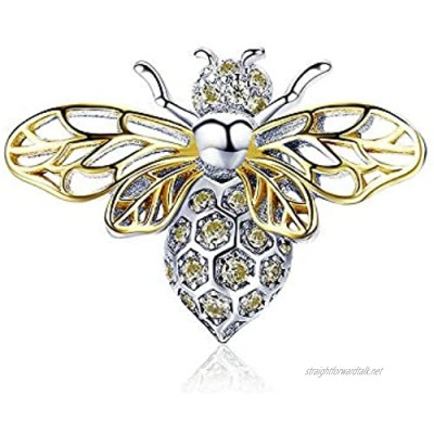 Bee Genuine 925 Sterling Silver Clear Zircon Bee Charms Insect Pendant fit Original Bracelets & Necklaces Jewelry
