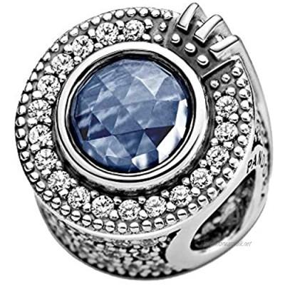Pandora Sparkling blue crown O charm in silver/blue.