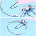 Pink and Blue Safety Chain Real 100% 925 Sterling Silver Pink and Blue CZ Round Safety Chain Charm Fit Charm Bracelet DIY Jewelry Making