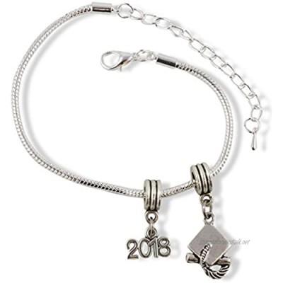 Emerald Park Jewelry 2018 Grad Graduation Cap Snake Chain Charm Bracelet