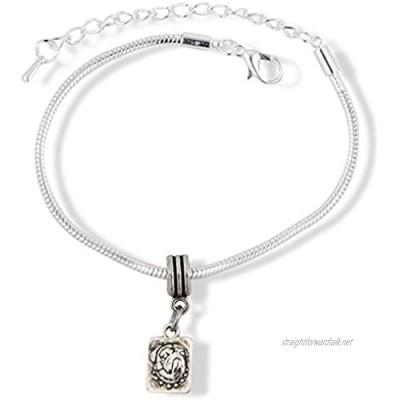 Pug Dog on a Square Snake Chain Charm Bracelet