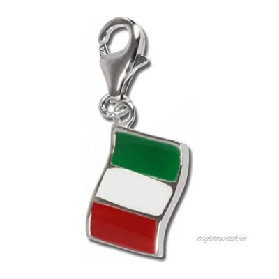 SilberDream 925 Sterling Silver Charm flag Italy Pendant for Bracelet Necklace or Earring FC705