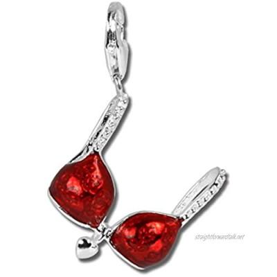 SilberDream Charm 925 Sterling Silver Bracelet Pendant Red Bikini Bra FC3005R