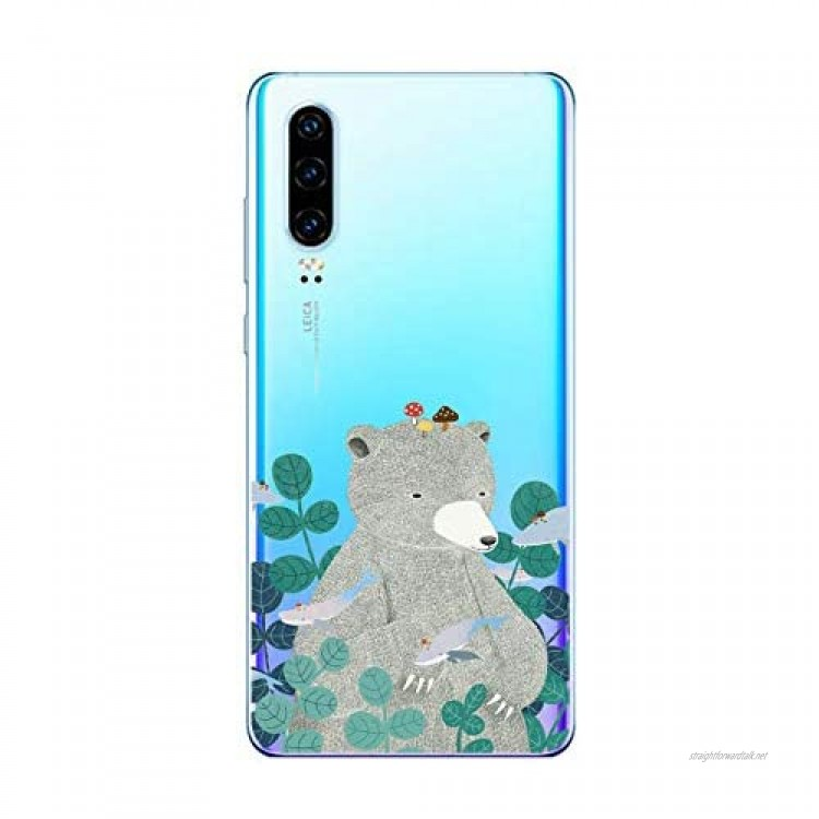 Oihxse TPU Bumper Compatible with Huawei P30 Lite Crystal Clear Soft Silicone Case with Fashion Design Slim Shockproof Transparent Back Cover for Huawei P30 Lite Grey Bear