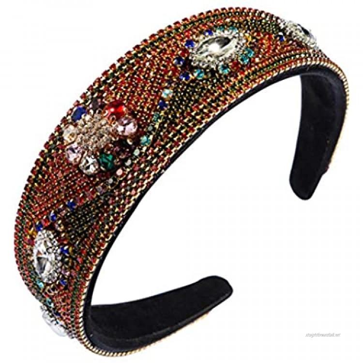GREEN&RARE Ethnic Ladies Womans Wide Headband Rhinestone Chain Full Jewelry Hair Hoop Colorful Imitation Crystal Flower Banquet Dance Bandana Headdress