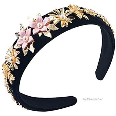Ladies Velvet Headband Double Layer Contrast Color Metal Flower Hoop Imitation Pearl Jewelry Wedding Banquet Bandana Headdress TINGG