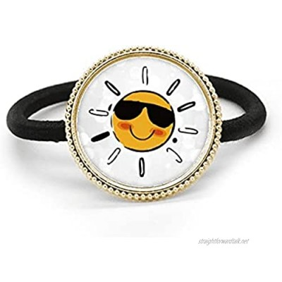 Sunglasses Weather Sun Illustration Pattern Silver Metal Hair Tie And Rubber Band Headdress