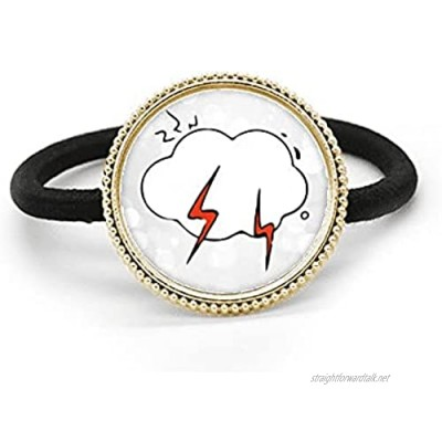 Weather Cloud Illustration Pattern Silver Metal Hair Tie And Rubber Band Headdress