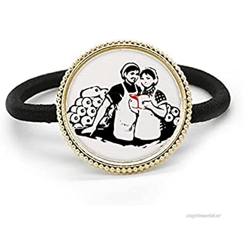 Women Book Study Red China Pattern Silver Metal Hair Tie And Rubber Band Headdress