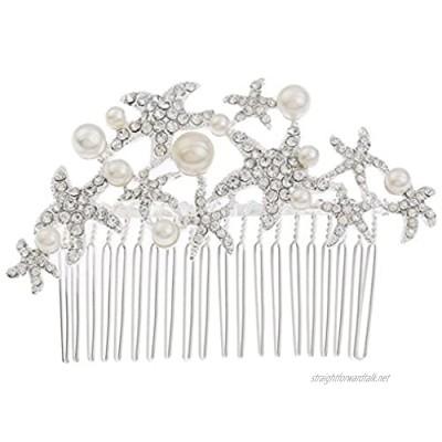 Cratone Hair Comb Wedding Bridal Bridesmaid Flower Crystal Rhinestones Hair Comb Clip Bride Hair Accessories Wedding Headdress Party for Women