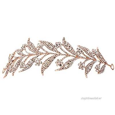 Gespout Leaf Headpices Shining Rhinestone Bridal Headwear Elegant Wedding Prom Party Headdresses Tiara Jewelry Hair Pins for Bride Bridesmaid