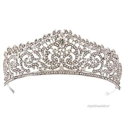 Gespout Retro Headband Shining Rhinestone Bridal Headwear Elegant Wedding Prom Party Headdresses Tiara Jewelry Hair Pins for Bride Bridesmaid