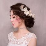 Handmade White Flower Bride Wedding Hair Clip Comb VIVIANU Women Jewelry Hairpins