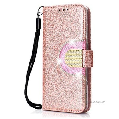 DENDICO Huawei P30 Wallet Case Glitter Shiny Case with Mirror and Card Holder for Huawei P30 Shockproof Flip Book Cover Protective Case - Rose Gold