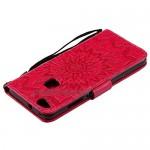 DENDICO Huawei Y9 2018 Case Premium PU Leather Wallet Flip Case Sun Flower Pattern Folio Magnetic Case for Huawei Y9 2018 - Red