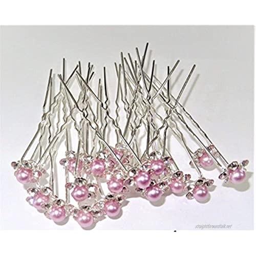 MontCherry Orchid Light Purple Pearl Crystal Flower Diamante Wedding Bridal Prom Hair Pins 10 Pins by Trendz