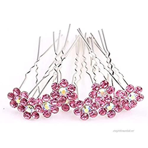 MontCherry Pink Crystal Flower Diamante Wedding Bridal Prom Hair Pins 40 Pins by Trendz