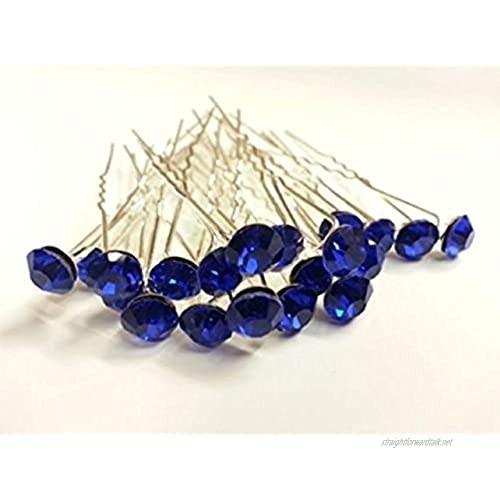 MontCherry Royal Blue Stud Crystal Diamante Wedding Bridal Prom Hair Pins 40 Pins by Trendz