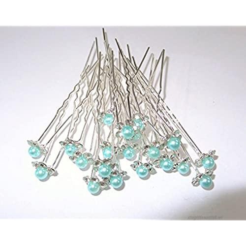 MontCherry Sea Green Pearl Crystal Flower Diamante Wedding Bridal Prom Hair Pins 20 Pins by Trendz