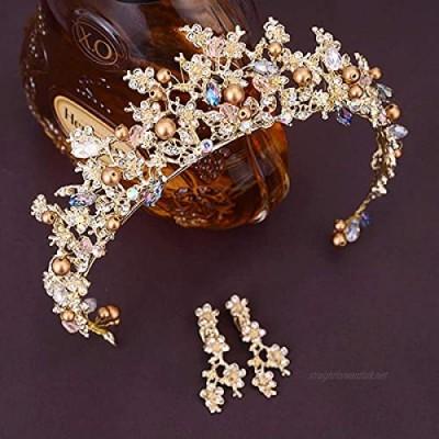 OKMIJN Bridal Crown Flower Bride Hair Jewelry Crystal Hair Wedding Tiara Crown Hair Accessories Jewelry