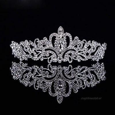 OKMIJN Pageant Crystal Crown Pearl Bride Tiara Diadem Wedding Tiaras And Crowns Rhinestone Bridal Hair Accessories