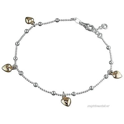 """9.75 Inch Four Rose Gold-Plated Hearts On Chain Sterling Silver Anklet/Ankle Bracelet/Ankle Chain - 925 Sterling Silver - 9.75"""" Inch / 25 cm - Anklets for Women"""