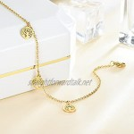 Arsey Charm Adjustable Anklet Ankle Bracelets Chains for Women Ladies Girls Stainless Steel Gold Plated Hypoallergenic Summer Beach Tree of Life Anklet