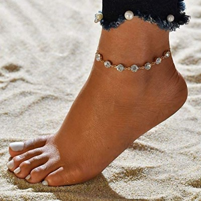 Mayelia Boho Crystal Ankle Bracelets Gold Foot Jewelry Beach Anklet for Women and Girls