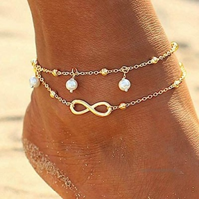Mayelia Boho Pearl Ankle Bracelet Gold Beach Foot Jewelry Layered Beads Anklet for Women and Girls
