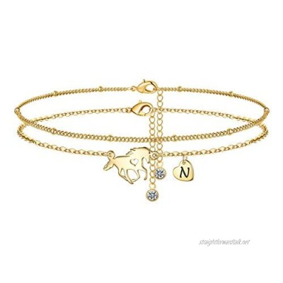 MONOOC Initial Ankle Bracelets for Women 14K Gold Plated Dainty Layered Horse Letter Anklet with Initials Cute Boho Summer Anklets Alphabet Ankle Bracelets for Women Teen Girls