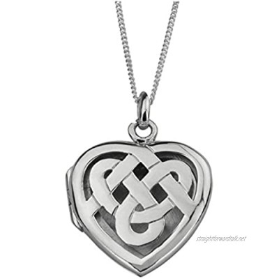 """Celtic Eternity Interlaced Knotwork Love Heart Shape Locket Necklace Pendant - Includes 18"""" Silver Chain"""