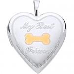 Genuine Sterling Silver 20mm 2 Col Dog Bone Heart Locket Brand New
