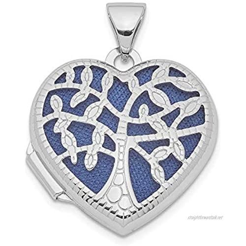 Ryan Jonathan Fine Jewelry Sterling Silver 18mm Filigree Tree Heart Locket Pendant Necklace