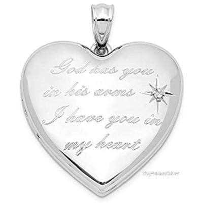 Sterling Silver Rhodium-plate God Has. Diamond Ash Holder Heart Locket for Women