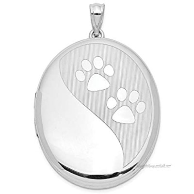 Sterling Silver Rhodium-plated Paw Prints Ash Holder Oval Locket for Women
