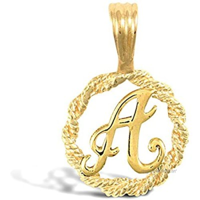 Jewelco London Solid 9ct Yellow Gold Rope Identity Initial Charm Pendant Letter A
