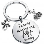 Tennis Makes Me Happy keychain Tennis Jewelry Gifts Tennis Lovers Gifts for Tennis Players Coaches Tennis Teams