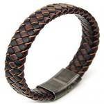 Brown/Black Mixed Woven Leather Men Bracelet Stainless Steel Gun Metal Clasp