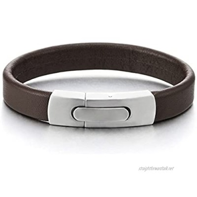 COOLSTEELANDBEYOND Brown Leather Bracelet for Men Women Genuine Leather Bangle Wristband with Steel Spring Clasp