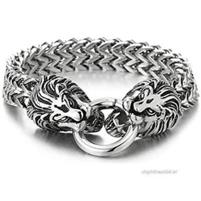 COOLSTEELANDBEYOND Vintage Biker Mens Steel King Lion Head Franco Box Link Chain Bracelet Spring Ring Clasp 8.5 Inches