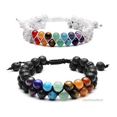 Jovivi 7 Chakra Bracelet Braided Double Lava Stone Bead Bracelet Adjustable Buddha Yoga Stone Bracelet Adjustable