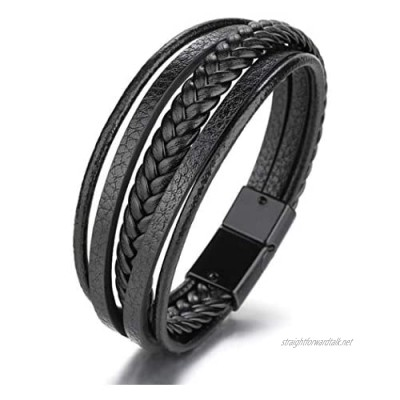 Mens Black & Brown Leather Bracelet with Stainless Steel Magnetic Clasp Cowhide Multi-Layer Braided Leather Mens Bracelet Jewelry Great Gift For Men