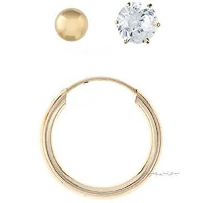 9ct yellow gold Mens set of 3 stud earrings/Ball Stud hoop and cubic zirconia/Giftbox