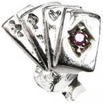 Men's 925 Sterling Silver Playing Cards Single Stud Earring - Gift Boxed - For the Leader of the Pack