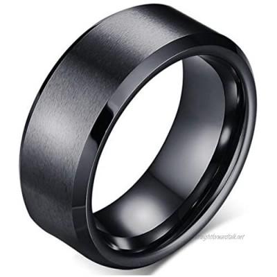8mm Matte Black Tungsten Carbide Classical Simple Plain Wedding Band Ring