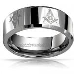 Bling Jewelry Square & Compass Freemason Masonic Titanium Wedding Band Ring for Men Polished Silver Tone Comfort Fit 8MM