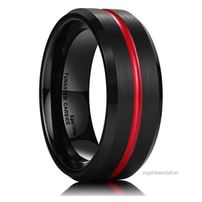 King Will 8mm Tungsten Carbide Ring Thin Red Groove Black Brushed Wedding Band Comfort Fit