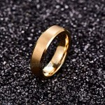 NUNCAD 6mm Unisex Gold Electroplated Tungsten Carbide Ring Matte Finish Beveled Edges Size L½ to Z+3