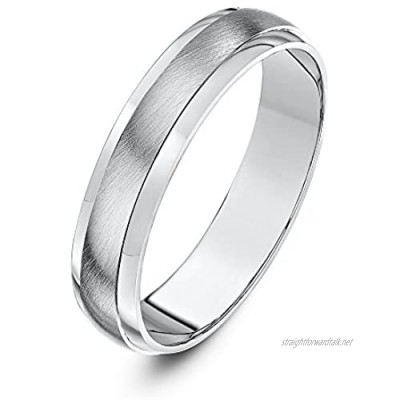 Theia Silver Heavy D-Shape Highly Polished Matt Centre Wedding Ring