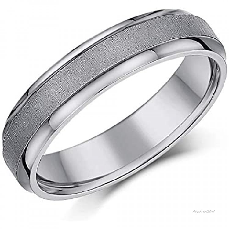 Titanium Wedding Ring Band Matt & Polished Unisex Men's Ladies Engagement Ring Bevelled Edge 4mm 5mm 6mm 7mm 8mm Choose your Width and Ring SIze